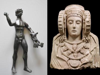 Bronzetto votivo di Ercole da Trivento e busto in pietra conosciuto co