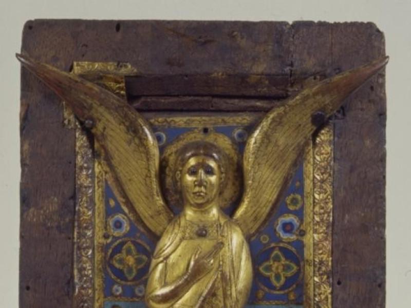 Manifattura di Limoges, sec.XIII, pannello di reliquiario