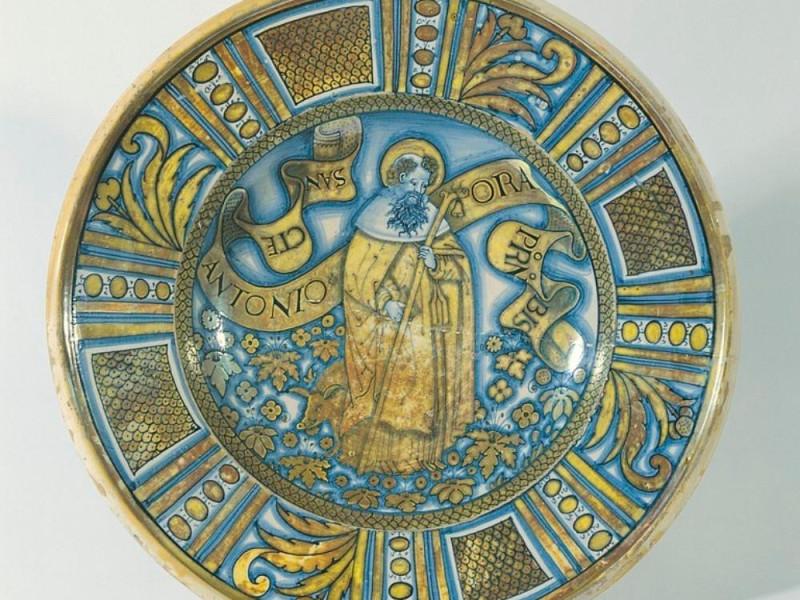 Fabbrica derutese, Piatto da pompa a lustro,  Bellu, Sandro/ Castignani, Sante; jpg; 768 pixels; 735 pixels