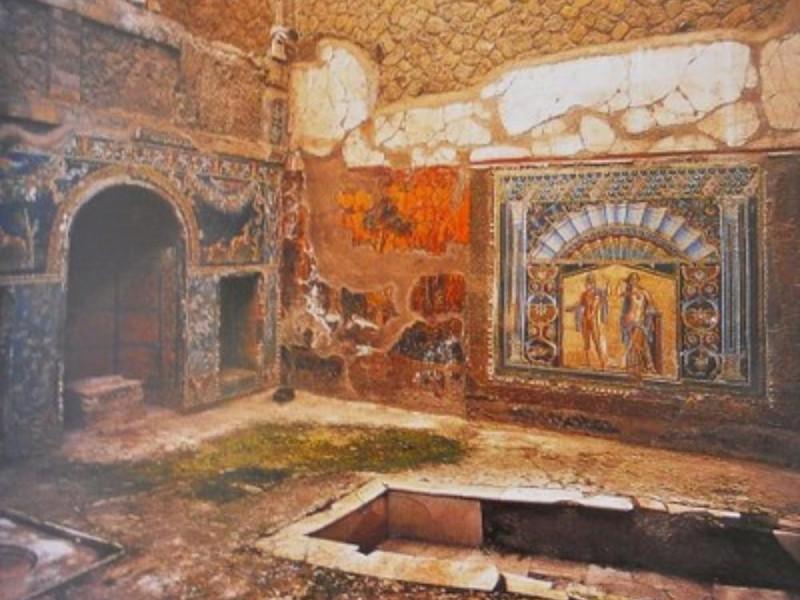 Scavi di Ercolano, viridarium con ninfeo a mo
