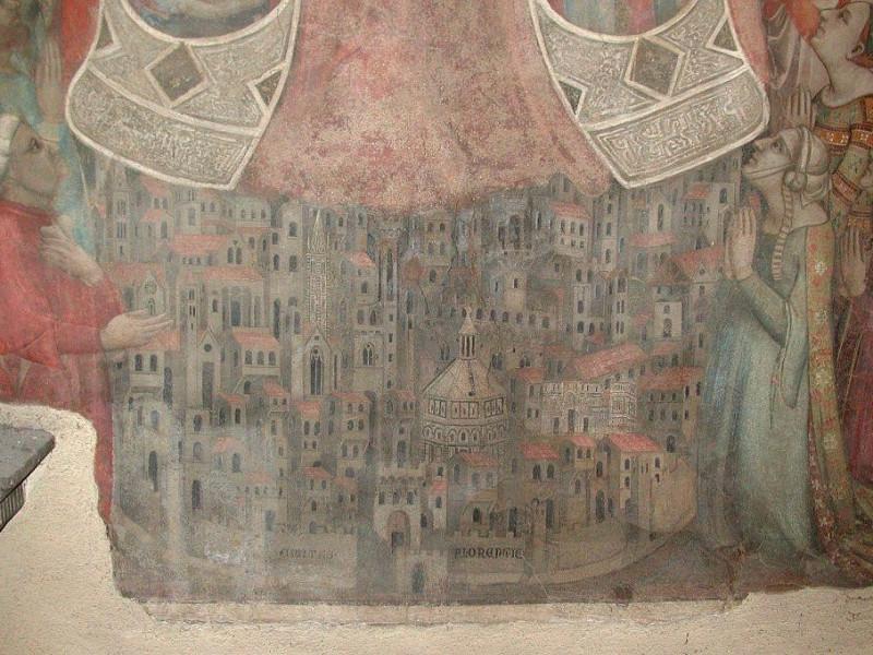 Madonna della misericordia (Daddi): dettaglio della più antica veduta di firenze